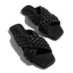 RESTOCK! Criss Cross Braided Slide Sandals - Black